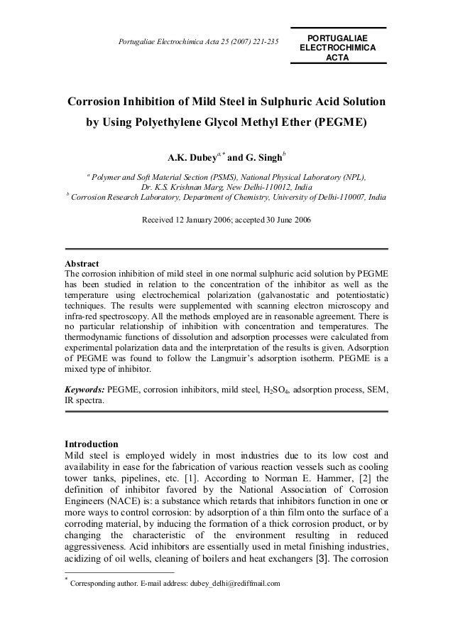Corrosion Inhibition Effect of Poly ethylene Glycol Methyl Ether (PEGME) in Acidic Media