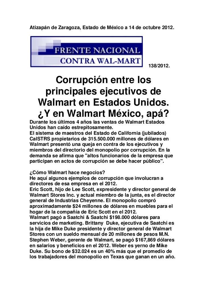 Corrupción de ejecutivos de walmart en e.u.
