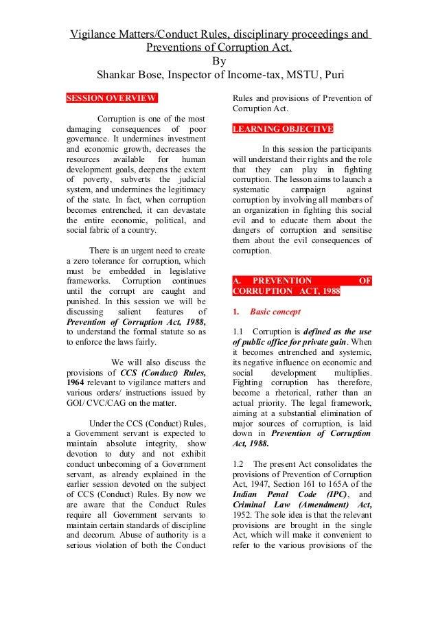 Corruption act and vigilance matters  4.1  &  4.2