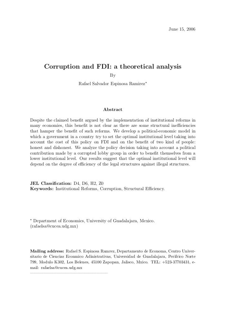 Corruption and fdi: a theorical analysis