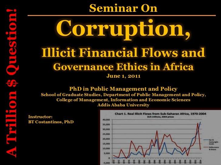 Corruption, illicit financials flows and governance ethics