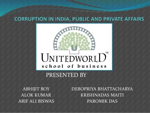 Corruption in India, public and private affairs