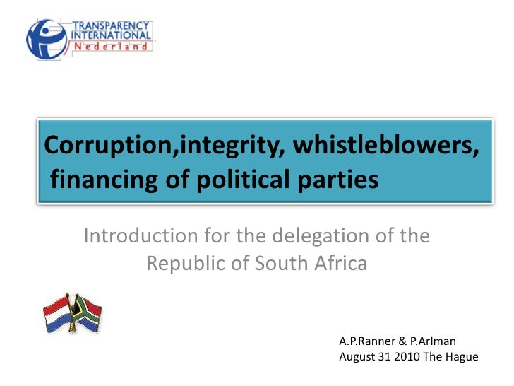Corruption,integrity, whistleblowers, financing of political parties<br />Introduction for the delegation of the Republic ...