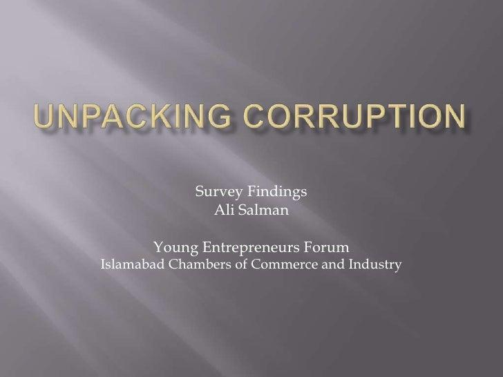 Islamabad Chamber of Commerce Corruption Survey