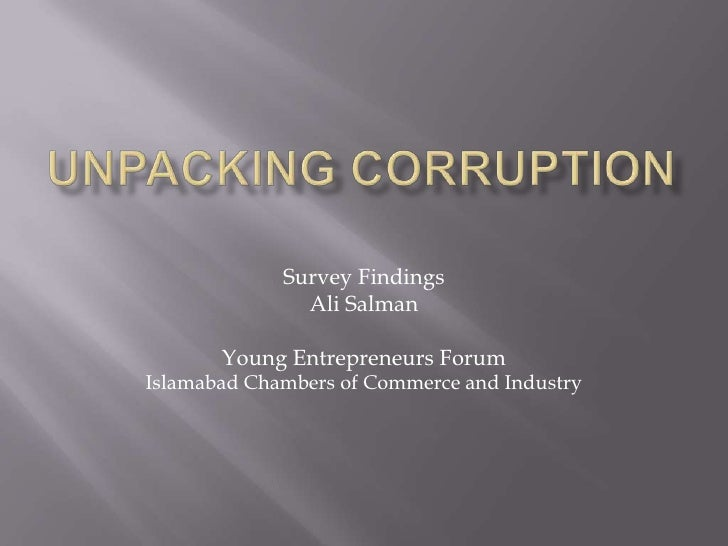 Islamabad Chamber of Commerce Corruption Survey