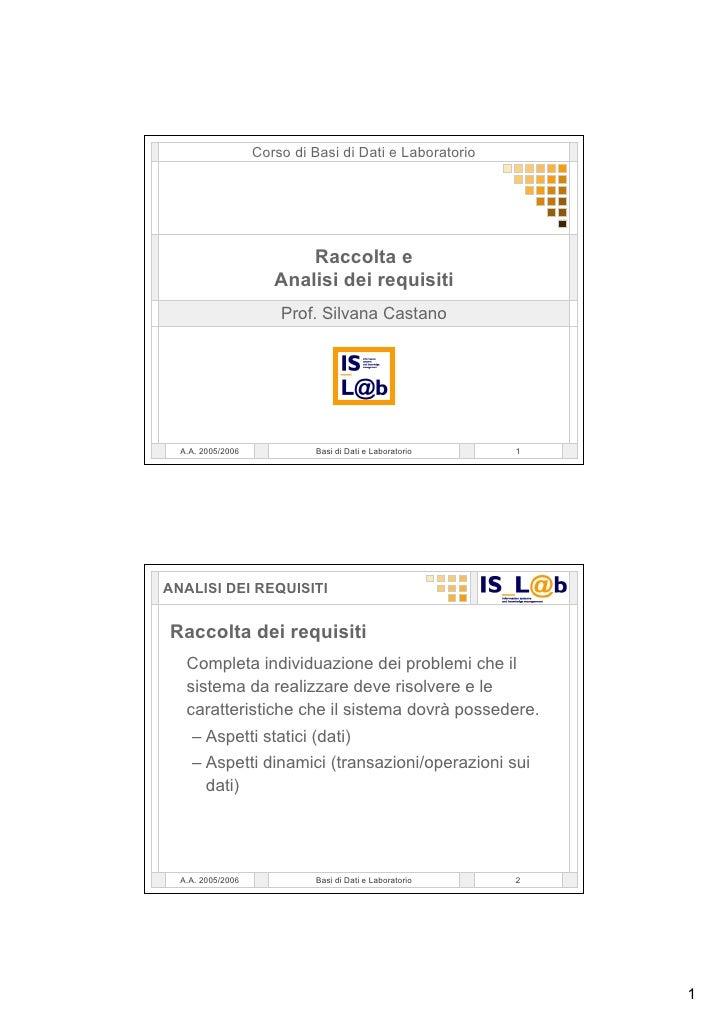 Corso Di  Basi Di  Dati 03  Progettazione Concettuale