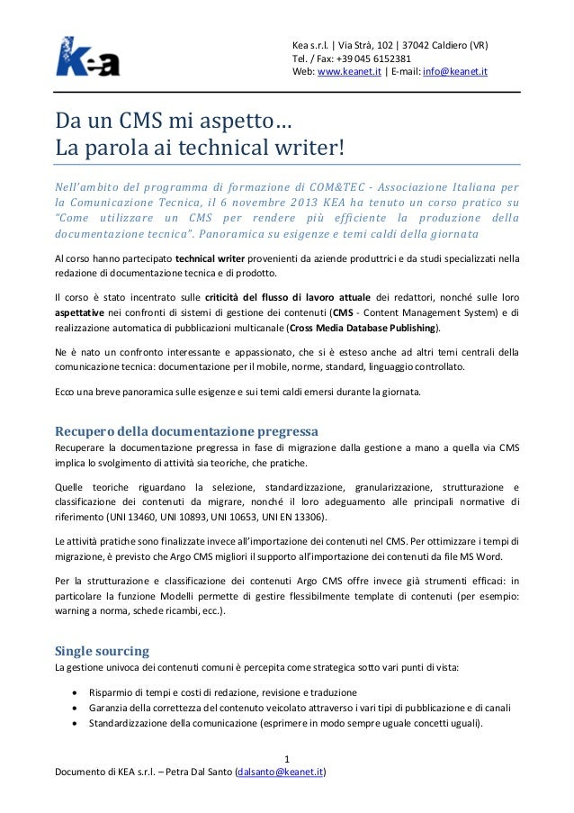 Da un CMS mi aspetto… La parola ai technical writer!