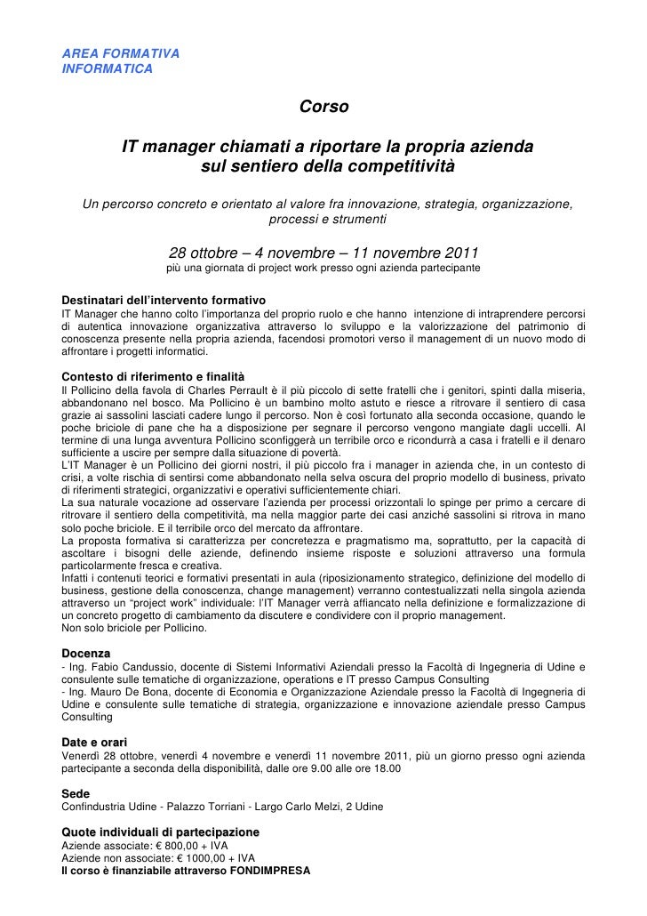 AREA FORMATIVAINFORMATICA                                                     Corso             IT manager chiamati a ripo...