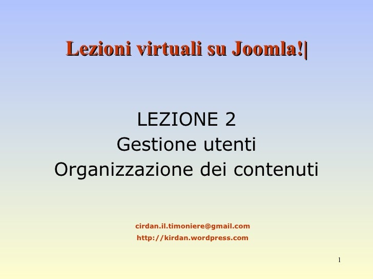 Corso Base Joomla Lezione 2