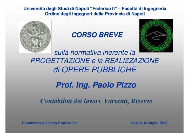 """Università degli Studi di Napoli """"Federico II"""" – Facoltà di Ingegneria           Ordine degli Ingegneri della Provincia di..."""