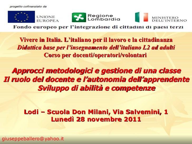 Didattica dell'Italiano per stranieri - base. Prof. Ballero