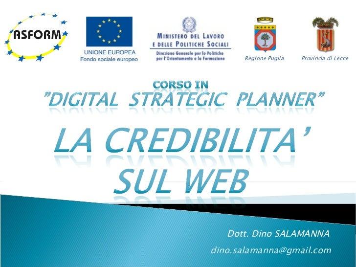 Corso Digital Strategic Planner - Lezione 5: La credibilità sul web