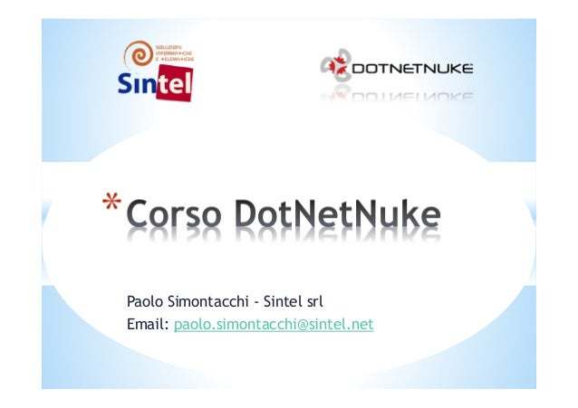 Paolo Simontacchi - Sintel srl Email: paolo.simontacchi@sintel.net *