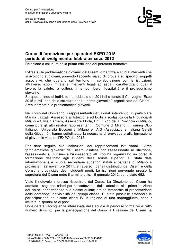 Corso expo  relazione finale 1ed