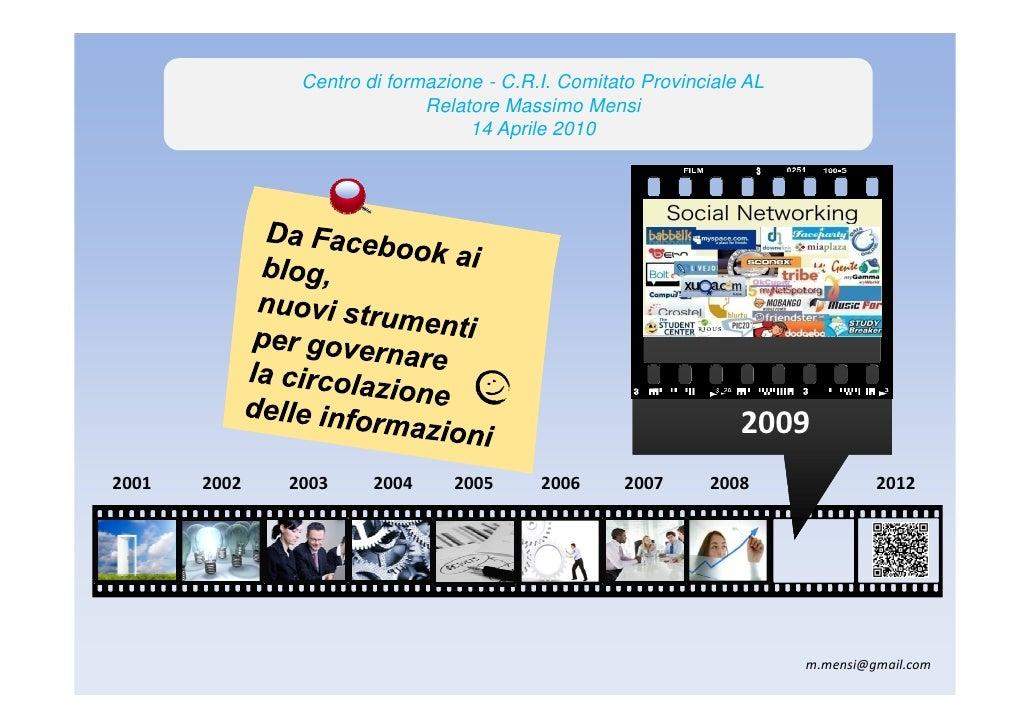 """Corso di formazione aprile 2010 Centro di formazione """"E. Rossi"""" Croce Rossa Italiana Alessandria web 2.0 ed emergenze"""