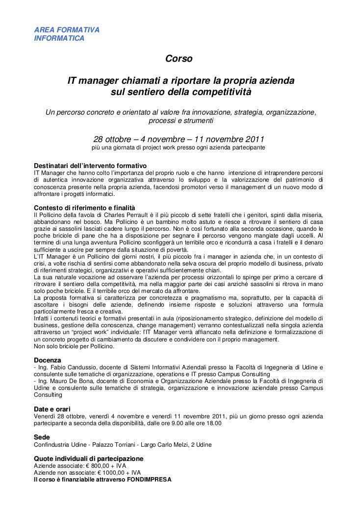 AREA FORMATIVAINFORMATICA                                                     Corso             IT manager chiamati a ripo...