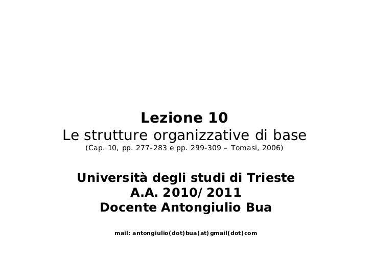 Lezione 10Le strutture organizzative di base   (Cap. 10, pp. 277-283 e pp. 299-309 – Tomasi, 2006)  Università degli studi...