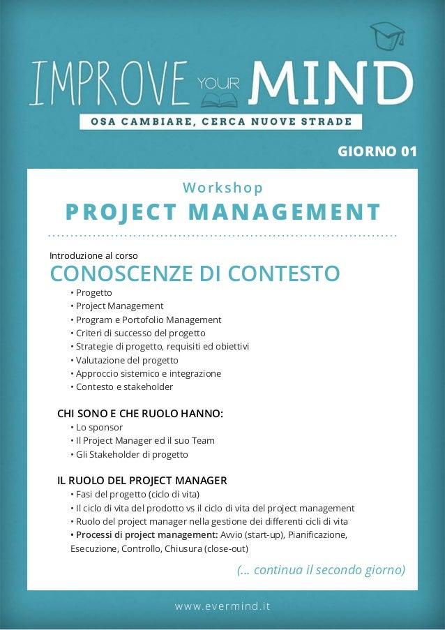 Corso project management roma - programma