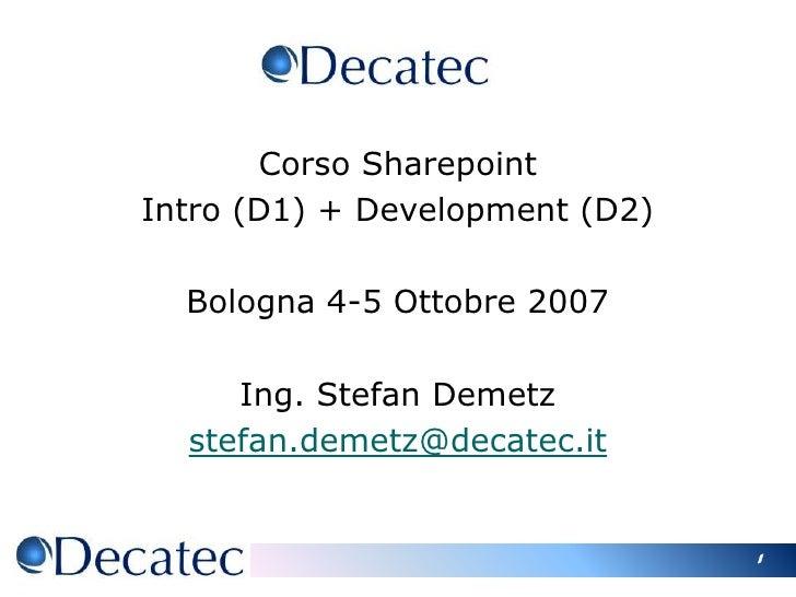Corso sharepoint D2