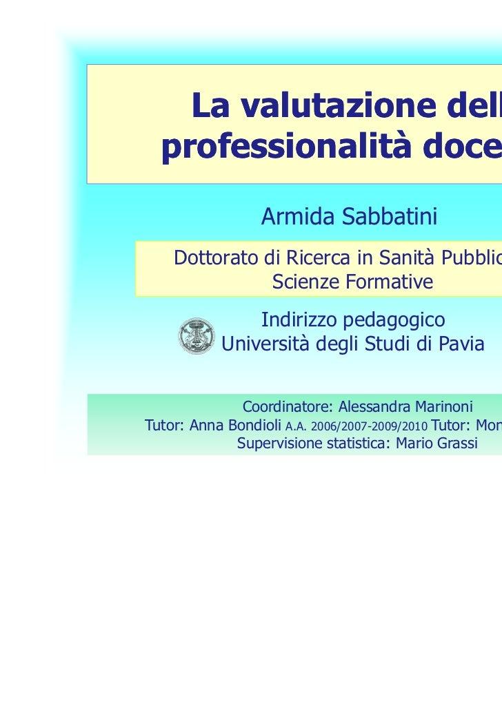 Corso valutazione sabbatini