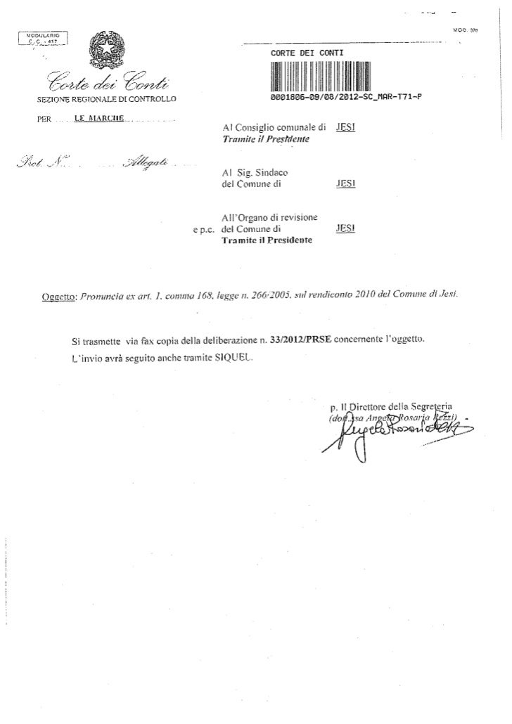 Pronuncia della Corte dei Conti sul rendiconto 2010 del Comune di Jesi