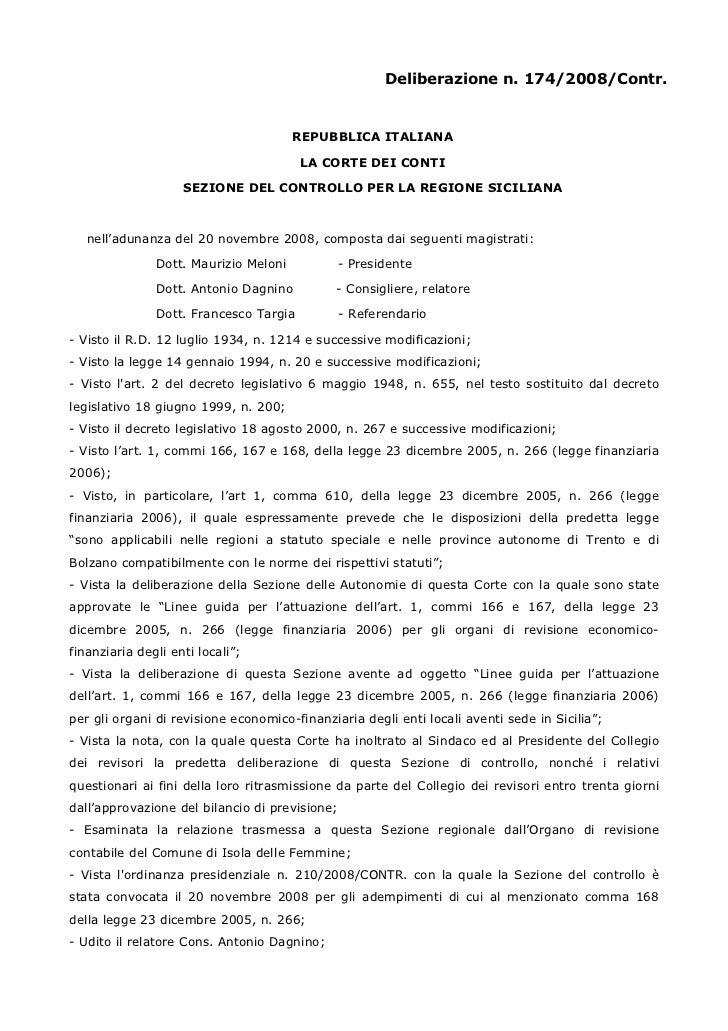 Corte dei  conti isola delle femmine delibera 174 2008 debiti verso ato non evidenziata evasione aumento sproposito entrate multe  deficit cassa patto stabilita'