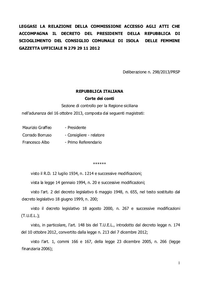 Corte dei conti regione sicilia bilancio 2011 e 2012 scioglimento c.c.  isola delle femmine deliberazione n. 298.2013.prsp