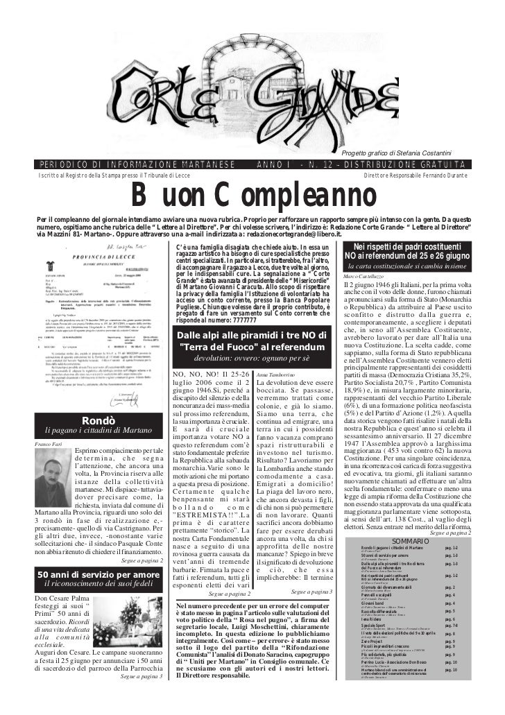 Progetto grafico di Stefania Costantini  PERIODICO DI INFORMAZIONE MARTANESE                                              ...