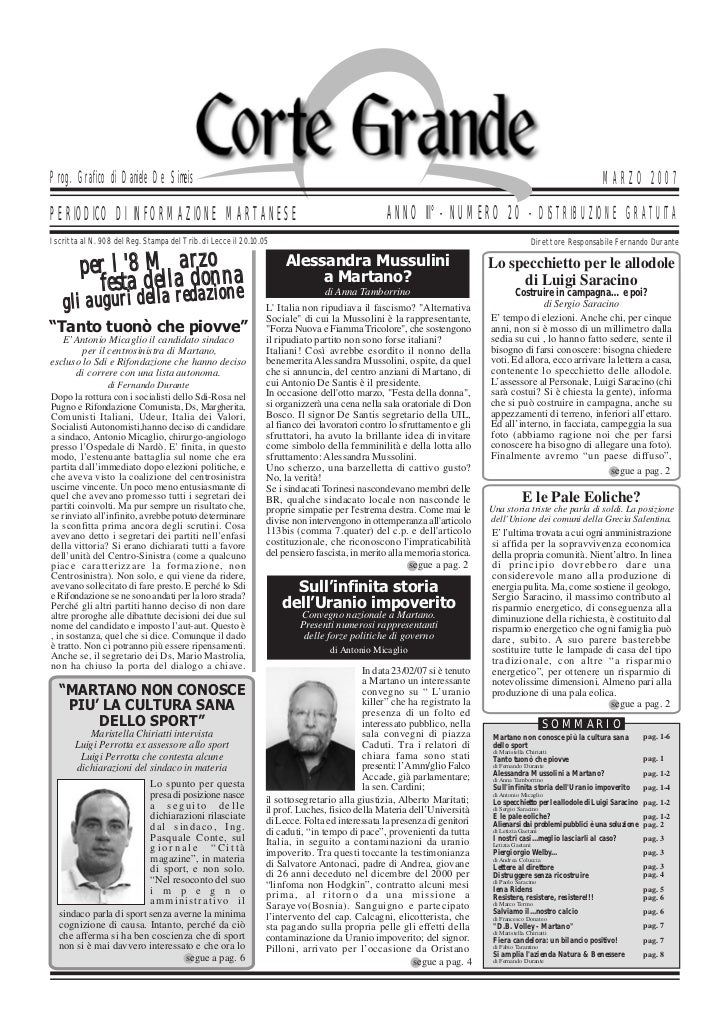 Corte Grande N°  20 - Marzo 2007