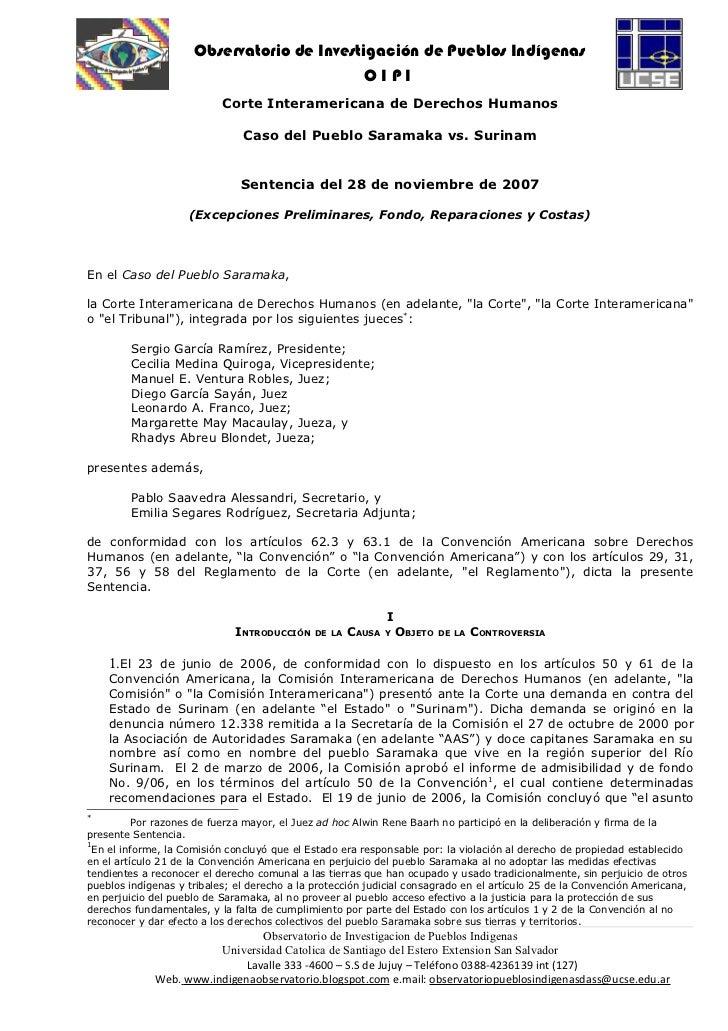 Corte idh caso del pueblo samaraka vs surinam 28.11.07