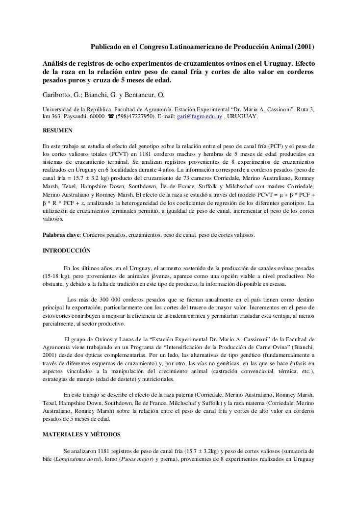 Publicado en el Congreso Latinoamericano de Producción Animal (2001)Análisis de registros de ocho experimentos de cruzamie...