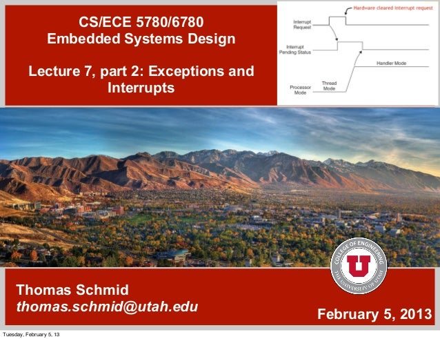 CS/ECE 5780/6780                 Embedded Systems Design          Lecture 7, part 2: Exceptions and                      I...
