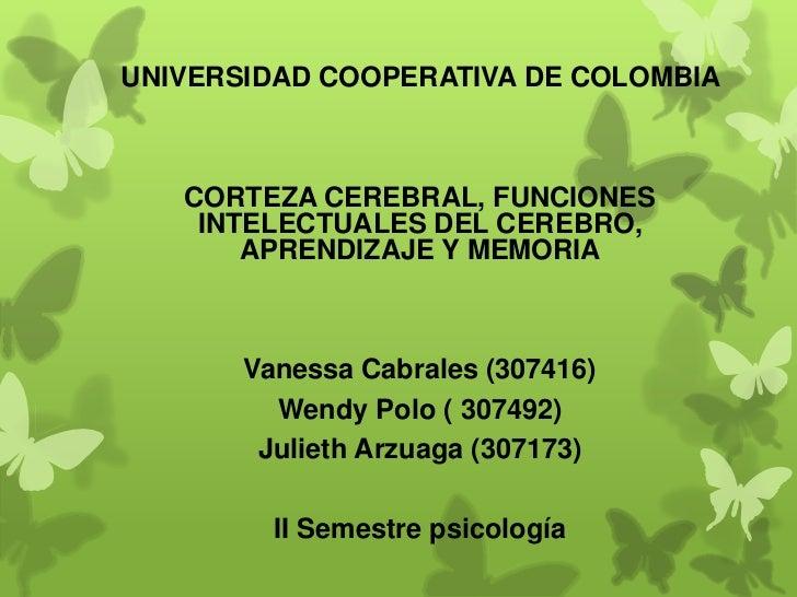 UNIVERSIDAD COOPERATIVA DE COLOMBIA   CORTEZA CEREBRAL, FUNCIONES    INTELECTUALES DEL CEREBRO,       APRENDIZAJE Y MEMORI...