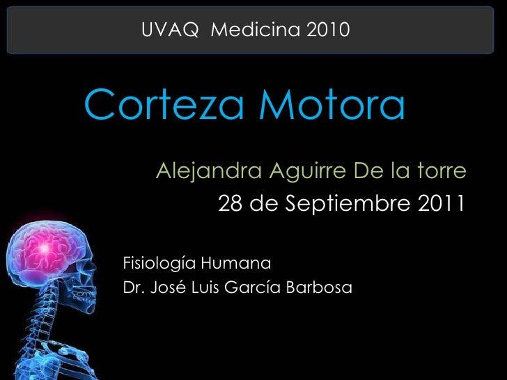 UVAQ  Medicina 2010<br />Corteza Motora<br />Alejandra Aguirre De la torre<br />28 de Septiembre 2011<br />Fisiología Huma...