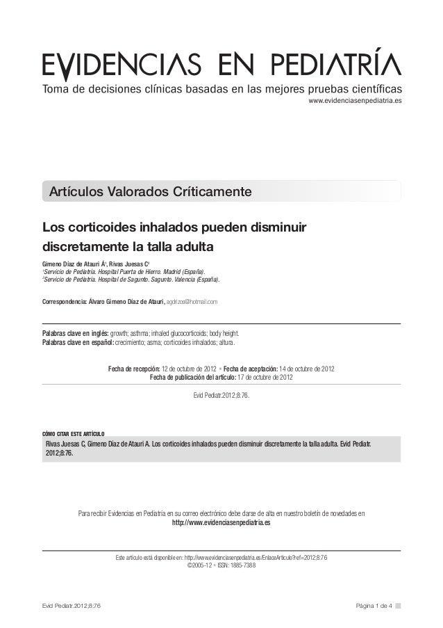 Corticoides inhalados disminuyen talla 2012 es