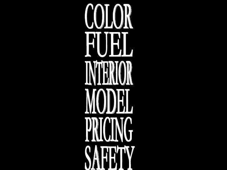 FUEL MODEL SAFETY COLOR INTERIOR PRICING