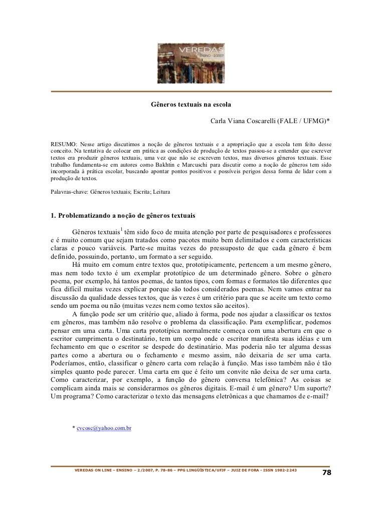 Gêneros textuais na escola                                                                     Carla Viana Coscarelli (FAL...