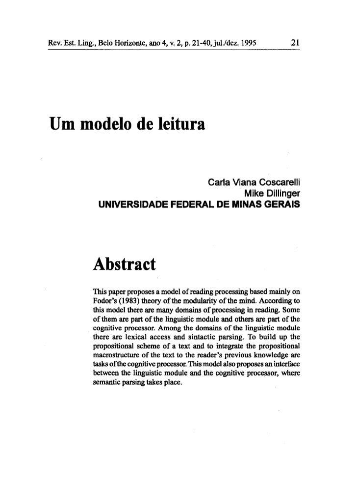 Rev. Est Ling., Belo Horizonte, ano 4, v. 2, p. 21-40,jul./dez. 1995            21Um modelo de leitura                    ...