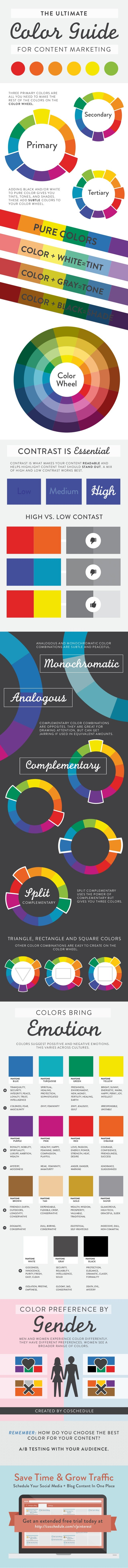 THE ULTIMATE Color Guide FOR CONTENT MARKETING Color Wheel PURE COLORS COLOR + WHITE=TINT COLOR + GRAY=TONE COLOR + BLACK=...