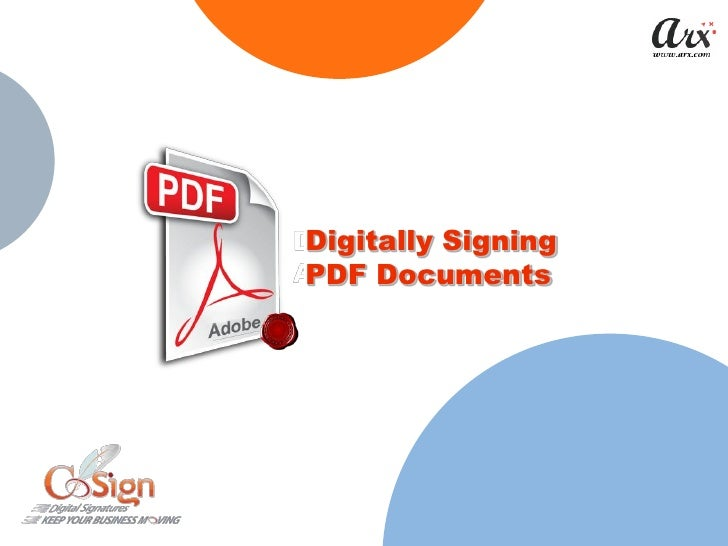 Digitally Signing PDF Documents
