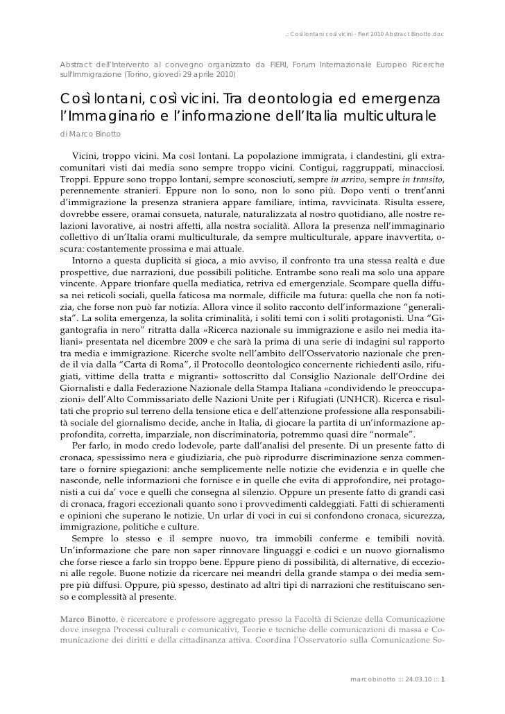 .: Così lontani così vicini - Fieri 2010 Abstract Binotto.doc     Abstract dell'Intervento al convegno organizzato da FIER...
