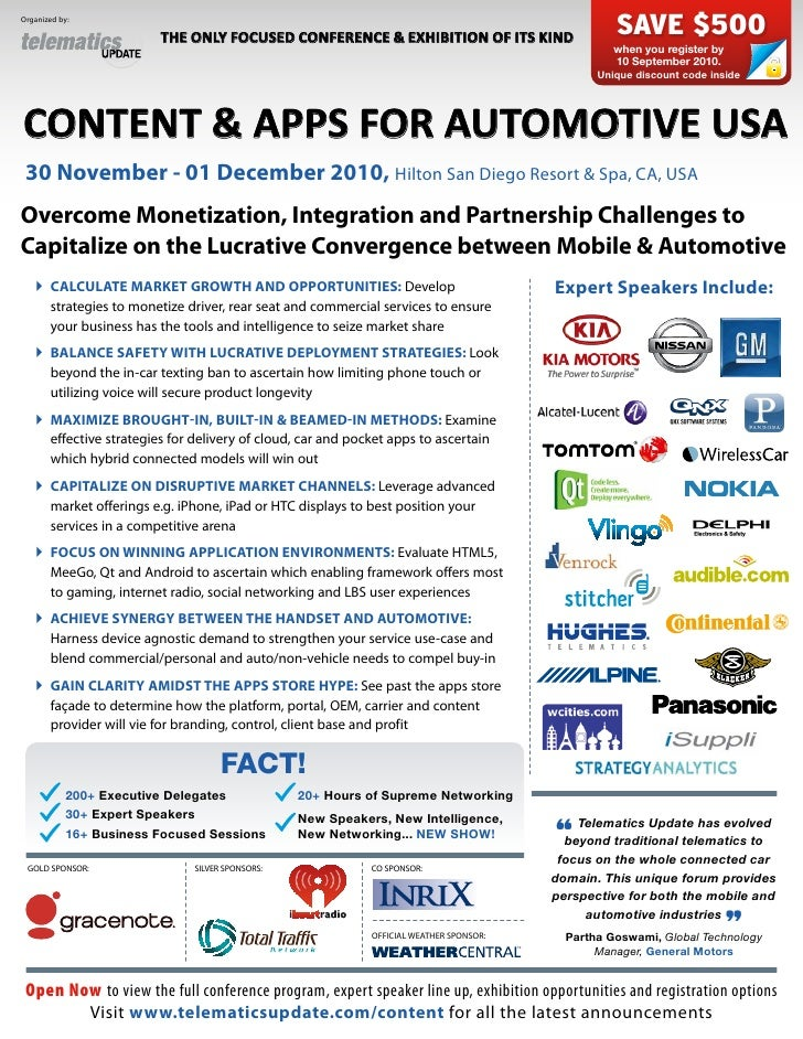 Content & Apps for Automotive USA 2010