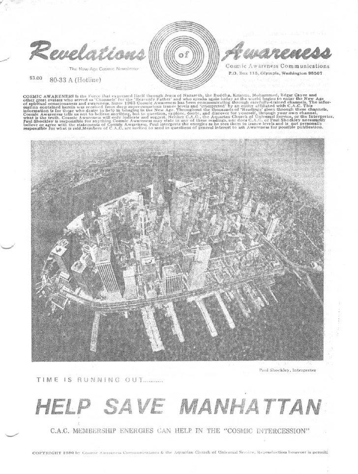 "Cosmic Awareness 1980-33: Help Save Manhattan - C.A.C. Membership Energies Can Help In The ""Cosmic Intercession"""