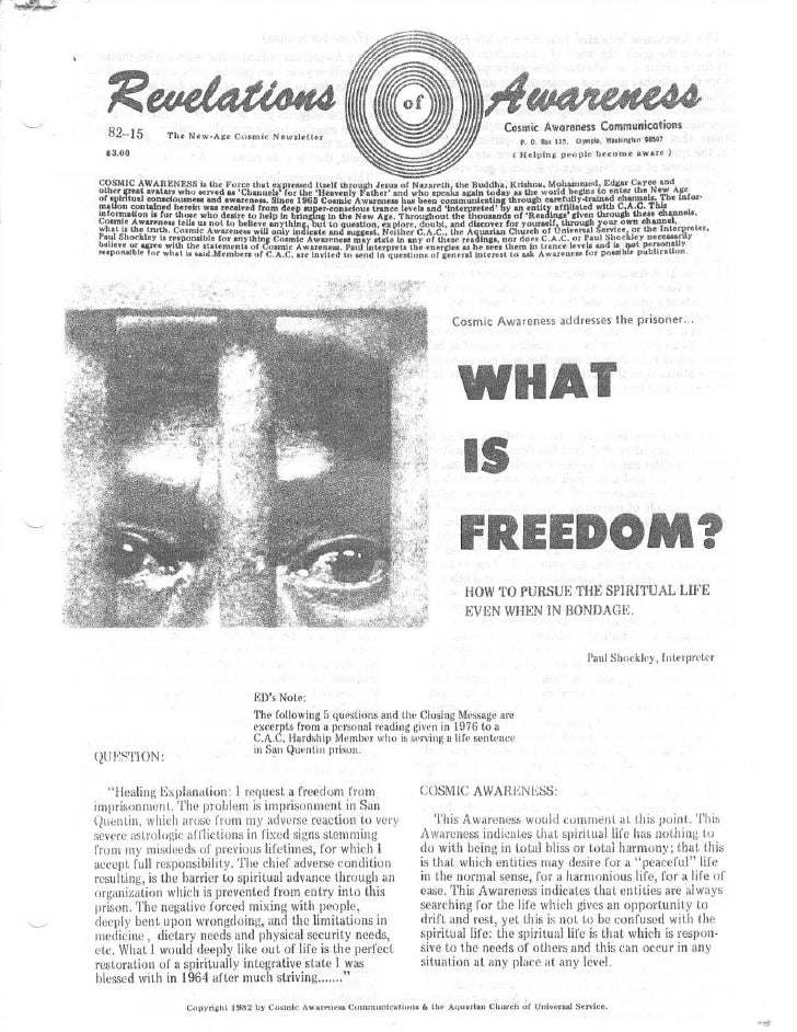Cosmic Awareness 1982-15: An Overview of What is Happening Behind The Scenes in Washington