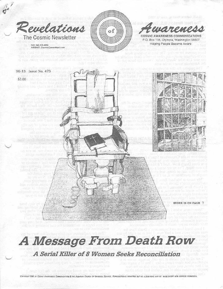 Cosmic Awareness 1996-13: A Message From Death Row (A Serial Killer of 8 Women Seeks Reconc
