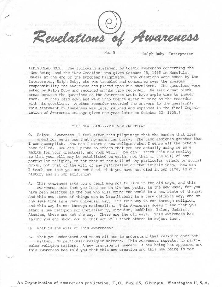 No . 9              Ralph Duby Interprete r      (EDITORIAL NOTE : The following statement by Cosmic Awareness concerning ...