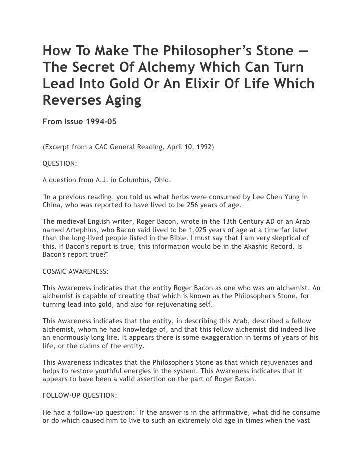 alchemy secrets of the philosophers stone