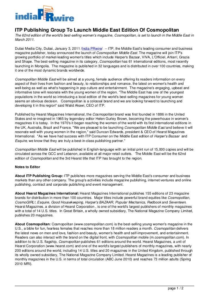 Cosmopolitan m agazine press release launch