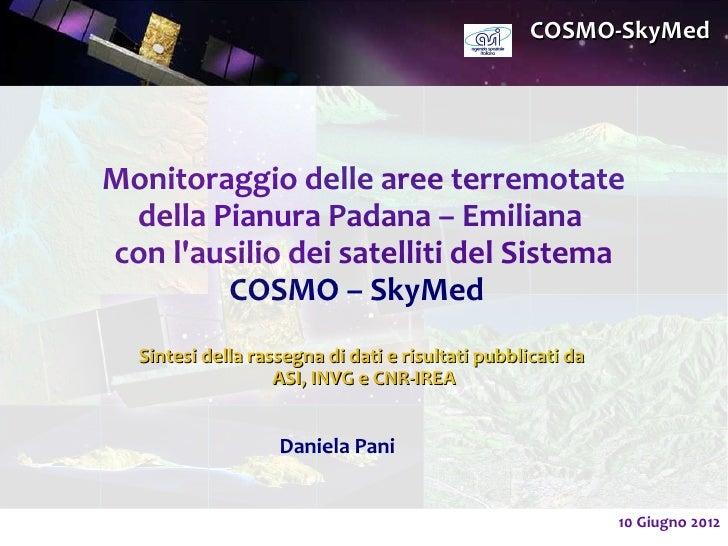 Cosmo Sky Med Emilia Romagna Earthquake