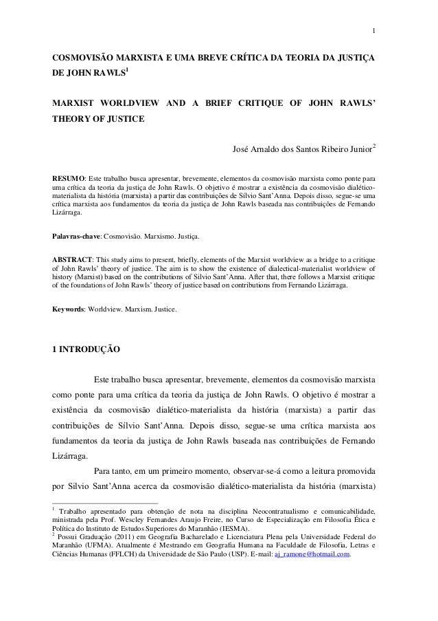 1 COSMOVISÃO MARXISTA E UMA BREVE CRÍTICA DA TEORIA DA JUSTIÇA DE JOHN RAWLS1 MARXIST WORLDVIEW AND A BRIEF CRITIQUE OF JO...